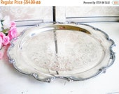 Sale Shabby French Tray/Round Silverplate Tray/Unique Decorative Tray /For Serving/Home Decor/Wedding/Vanity Tray/14 Inch