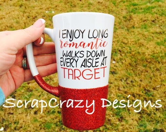 Long Romantic Walks, target, coffee mug, 16oz tall latte glitter dipped coffee mug, with or without glitter
