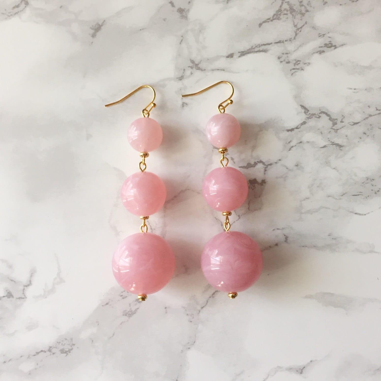 Orbital Drop Earrings - Marbled Pale Pink