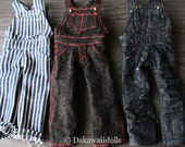 PRE-ORDER / Blythe Doll Outfit /  1/6 doll size /  Denim Over-all /  black / hickory/