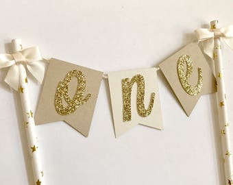 First Birthday Cake Topper, One Cake Topper, Neural & Gold Cake Topper, Smash Cake Topper, First Birthday Decorations