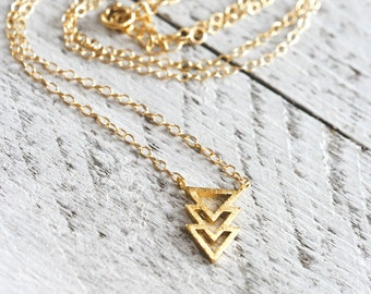 TRIPLE TRIANGLE necklace with triangles | gold