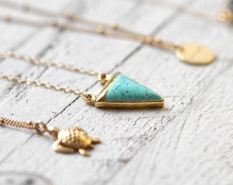 TURQUOISE TRIANGLE necklace triangular turquoise | gold