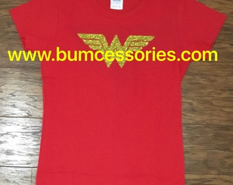 Wonder Woman Logo Shirt WonderWoman Logo Sparkle Glitter Red T-Shirt