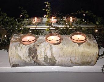 Rustic Candle Holder, Birch Bark Candle, Centerpiece, Rustic Decor