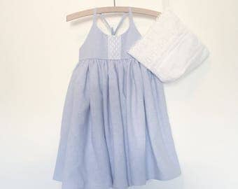Soft Blue Linen Look Sundress for Girls Size 12 months - 10 years Made to Order