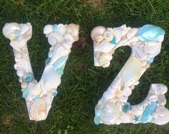 Beach Decor Seashell Letter - Blue and White Soft Tropical Colored Shell Letter - Shell Initial - Wooden Letters - Beach Wedding - Gift