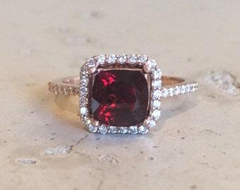 Garnet Cushion Cut Engagement Ring- Rose Gold Garnet Engagement Ring- Halo Garnet with Diamond Promise Ring- Solitaire Red Garnet Ring