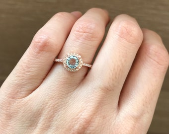 Rose Gold Aquamarine Engagement Ring- Classic Halo Promise Ring- Rose Gold Ring Anniversary- Blue Round Gemstone Ring- March Birthstone Ring