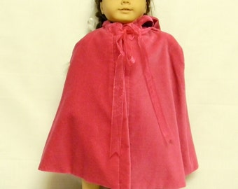 Pink Velvet Lined Cape With Hood For 18 Inch Doll Like The American Girl