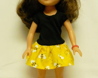 Wellie Wishers Like Bumble Bee Dress For 14.5 Inch Doll