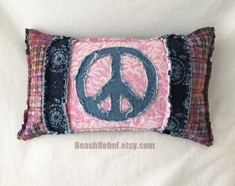 Peace sign bolster pillow cover, grunge rag style batik with pink navy purple batiks and denim 12x21 boho little pillow cover