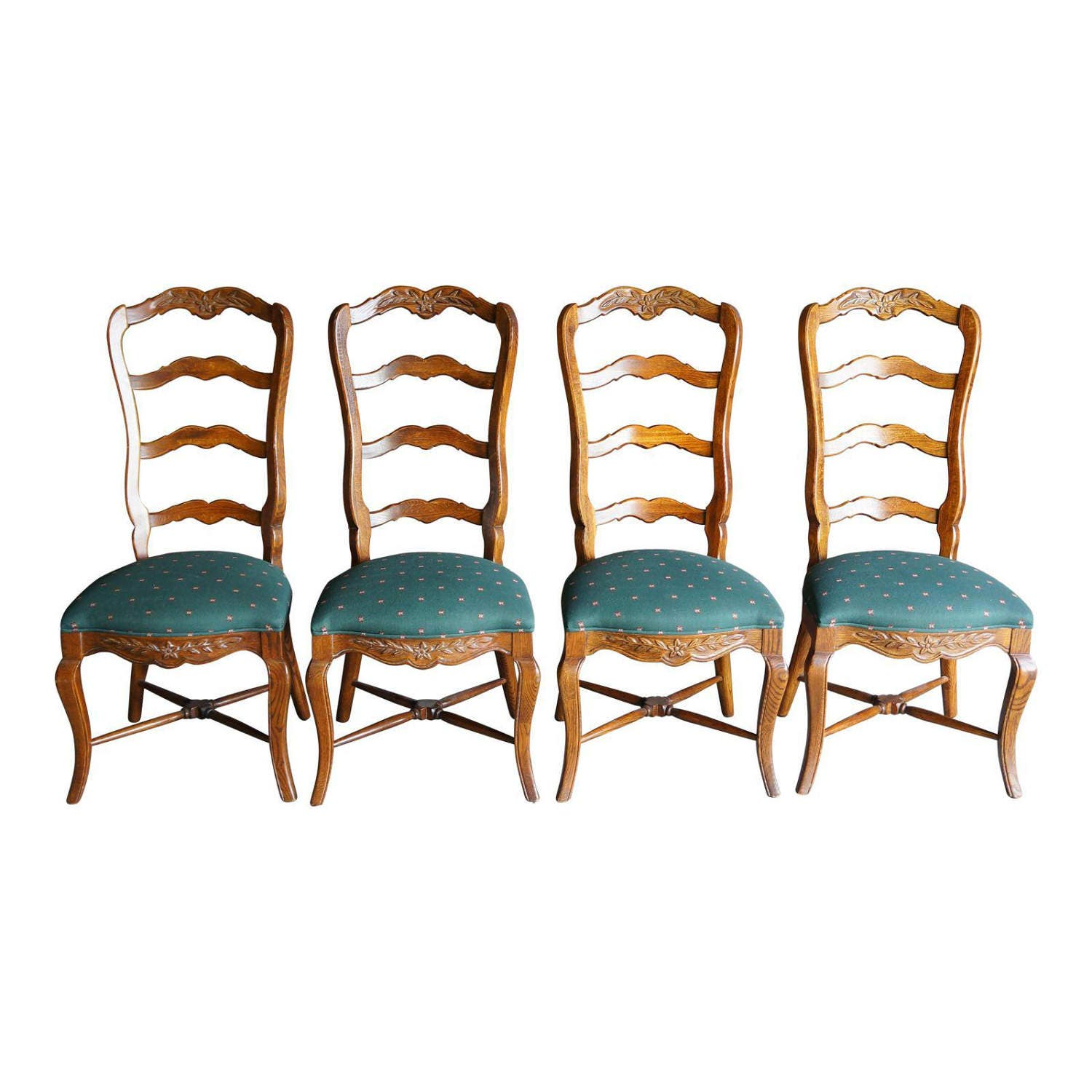 Country French Ladder Back Dining Chairs / Pierre Deux Style