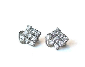 Vintage Clear Rhinestone Earrings Square Silver Tone clip on