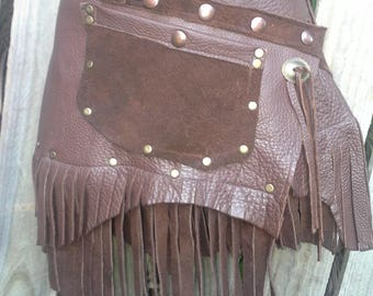 """festival burning man ,bohemian gypsy quality soft suede leather brown belt/skirt.....30"""" to 38"""" hip or waist.."""