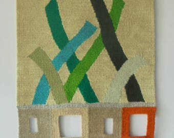 tapestry wall, crossing herbs/cruce de hierbas, wall decoration, GREEN