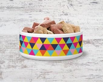 Geometric Bright Triangles Pet Bowl Small or Large Dog Bowl Ceramic Cat Bowl Dish Pet