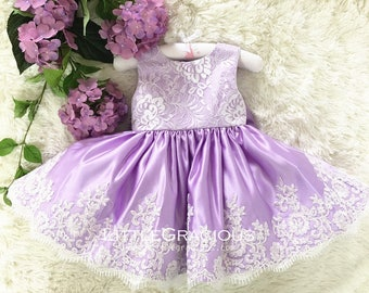 baby Purple Toddler Easter Dress in Purple Lace, Baby Girl Dress, Infant Pageant Dress LG010