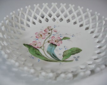Hand painted Milk Glass Bowl, Vintage Westmoreland Milk Glass