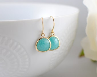 The Phoenix Anne Earrings - Deep Aqua/Gold