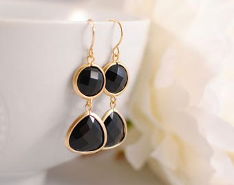 The Denim Earrings - Gold/Black