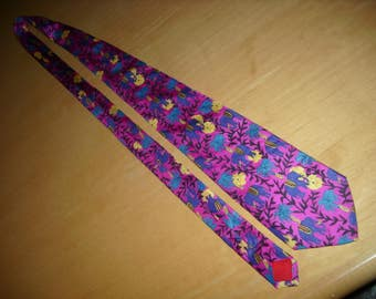 Free shipping! Pink neck tie with purple elephants!