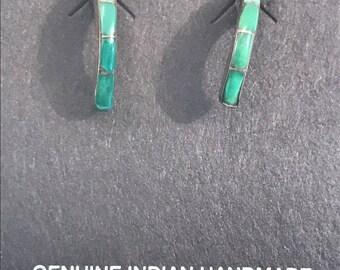 Vtg New Old Stock Gradiated Inlaid Sterling Earrings