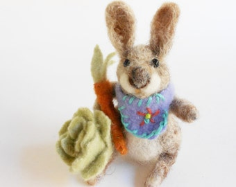 Needlefelted rabbit hare animal carrot cabbage handfelted wool fiber sculpture whimsical felt doll