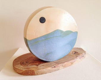 Large Round Ocean Horizon Pottery Vase