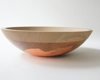 "12"" Cherry and Copper, Solid Hardwood Serving Bowl by Willful Goods"