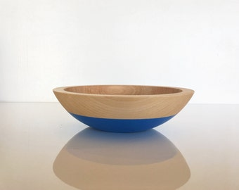"Small Individual Serving Salad or Snack Bowl, Beech Wood, 7"" hardwood bowl, color dipped, blue wooden bowl by Willful"