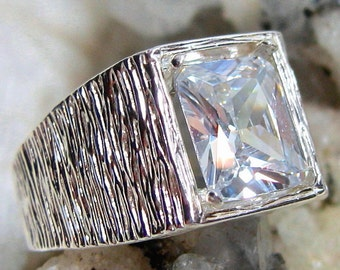 10x8 Mens Diamond Ring, Emerald Cut Diamond Ring (Lab Created), Cubic Zirconia Ring 925 Sterling Silver Ring, Size 9, 10 or 11