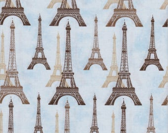 Robert Kaufman Fabrics, City of Lights, Eiffel Tower on Light Blue