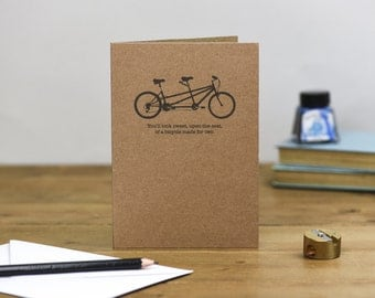 Tandem Bicycle Anniversary or Wedding Card