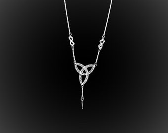 Triquetra necklace with silver embroidery