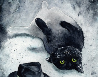 The Invisible Kitten: Fine Art Watercolour Black Cat Print