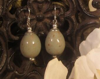 Memorial Bead Earrings - Custom Keepsake Stoneware Pottery Pet Cremains Jewelry - Egg - Drop Earrings