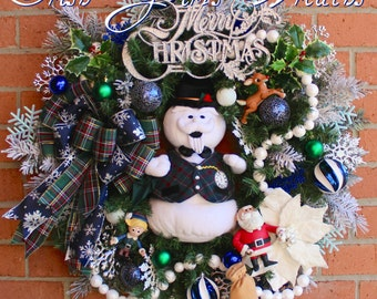 Sam the Snowman & Rudolph Christmas Wreath, Santa Ornament, Hermie the Elf, Christmas Decor, Rudolph Decor, Snowman Decor, Island Misfit Toy