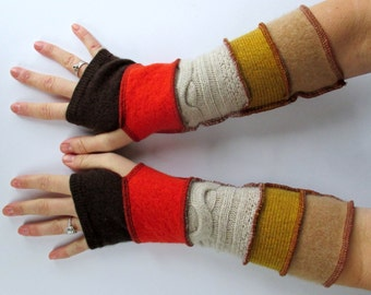 Long Fingerless Gloves - Recycled Sweaters Gloves - Gypsy - Hippie Clothing - Autumn - Gold Brown Rust - Gifts Under 30 - Woodland Colors