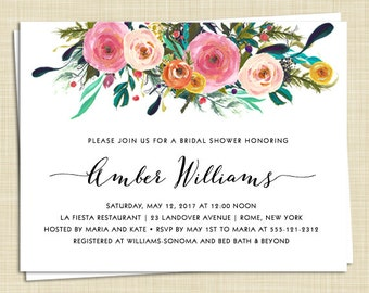 10 Floral Bridal Shower Invitations - Roses - Watercolor - PRINTED