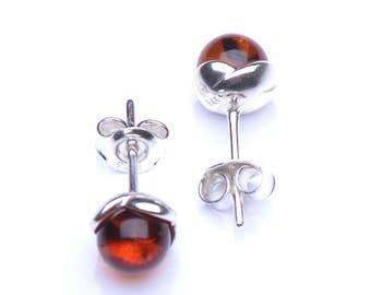 Cognac Baltic Amber & Sterling Silver Stud Earings - Spherical Genuine Amber Bead