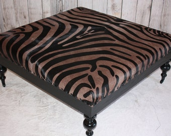 "Rustic Walnut /Black Zebra Hide Print Cowhide Ottoman 44 X 44 X 18 "" Very Large """