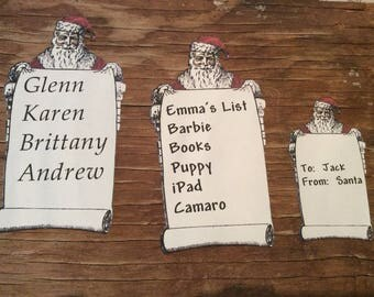 Personalized Vintage inspired Santa tags die cuts cut outs pictures