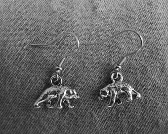 Beautiful pair of Silver Earrings with Bear and Hypoallergenic Surgical Steel Ear Wires