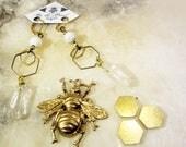 clear quartz point earrings, hexagon earrings, Geometric Pattern, Honeycomb Earrings, Hexagon, natural eco friendly summer jewelry