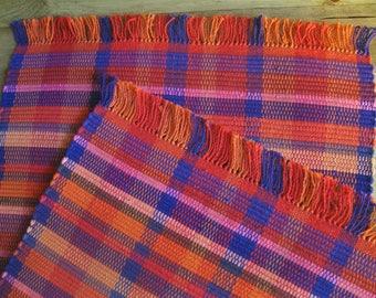Bright Orange, Red, and Purple Ethnic Nicaraguan Handwoven Rag Rug