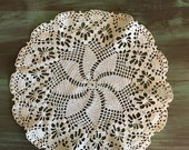 "Ecru Crocheted Doily / Vintage Cotton Doily 10.5"" Great for Vintage Decor"