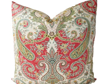 Decorative Designer, Traditional Paisley, Coral, Pillow Cover, 18x18, 20x20, 22x22 or Lumbar Throw Pillow