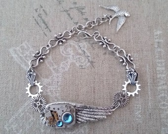 Steampunk with a feather bracelet