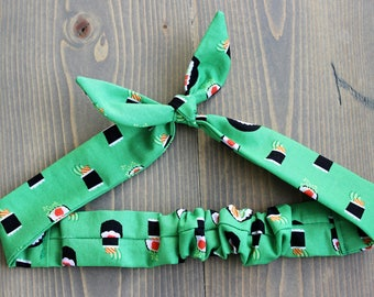 Sushi Roll Knotted Hair Tie, Rosie Wrap, Headband, Bandana, Hair Scarf, Baby, Toddler, Child, Photo Prop, Rockabilly, Kelly Green